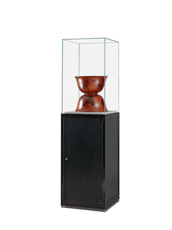 Glashaubevitrine SV-1 schwarz mit Unterschrank und grosse Glashaube
