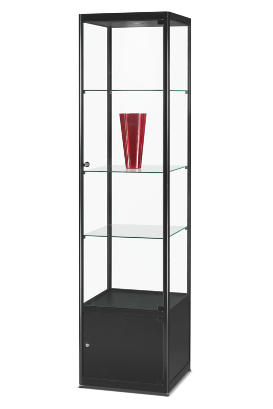 Glass display cabinet MPC 500 black with storage