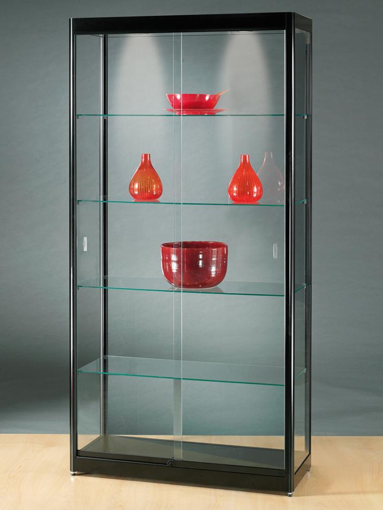 vitrine-glas-halogeen-verlichting-1000-400-2000-zwart-GPC-RAL9005-schuifdeuren.jpg