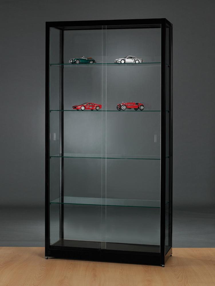 vitrine-glas-zonder-verlichting-1000-400-1972-zwart-WME-RAL9005-schuifdeuren.jpg