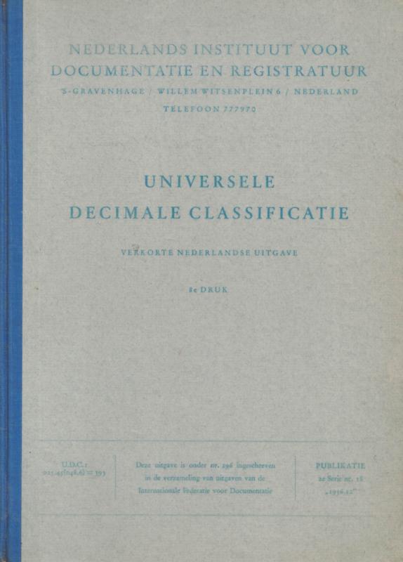 Universele decimale classificatie - Verkorte Nederlandse uitgave, 2e druk