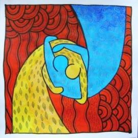 Beeldverhaal - OMHELZING - op canvas 30x30 cm