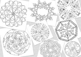 42 mandala's - losse set op 200 gram aquarelpapier ( 20x20 cm ) Deze 42 mandala's hebben thema's voor kinderen, pubers en ouderen. Vanaf 10 sets 10 % korting - kortingscode invullen:   42M-LS-LB-K