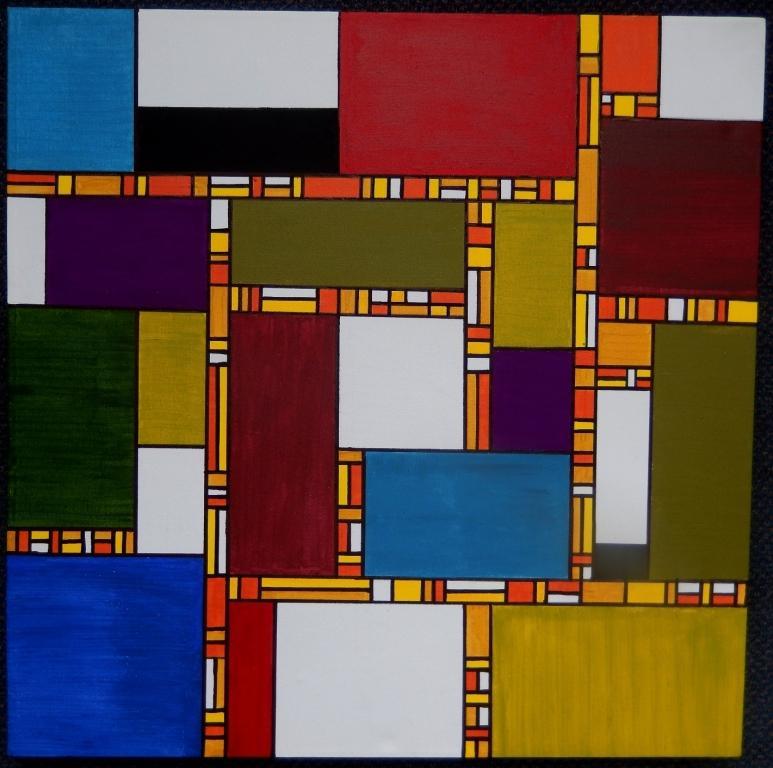 Vlakverdeling - KV 22  Acryl op Canvas 60x60 cm