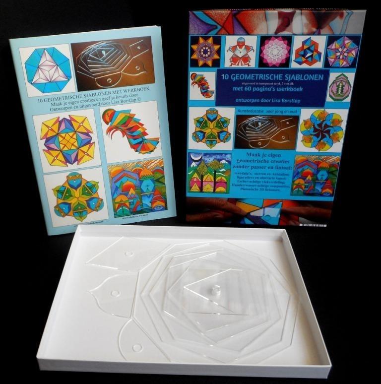 10 Geometrische Sjablonen met werkboek in bedrukte doos