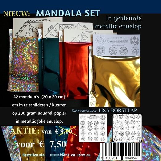 MANDALA SET 42 Mandala's  in gekleurde metallic envelop