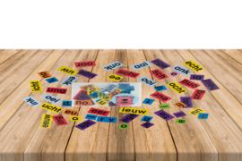 Envelop teken- en woorddeelkaartjes deel roze t/m paars