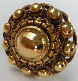 Zeeuwse kastknop 36mm doorsnede,verguld met laagje echt goud, sieraad voor op de kast