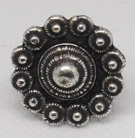 Zeeuwse knop ring verzilverd plat, een maat, ZKR 300