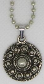 ZKH618 Mooie verzilverde bescheiden zeeuwse knop met bolletjesketting 40 cm en verlengkettinkje