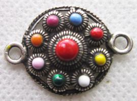 ZB018-MC nieuwste rage zeeuws knopje zwaar verzilverd met prachtige kleuren emaille, twee oogjes, geschikt als tussenstuk