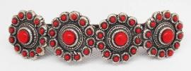 ZKG 403-R Zeeuwse knopen haarspeld, 8 cm speld, rode emaille