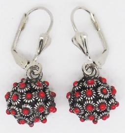 ZKO728-R Zeeuwse knopjes bolletjes oorbellen met rode emaille