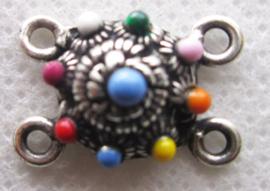 ZB012-MC zeeuws knopje met 4 oogjes zwaar verzilverd en emaille multicolour
