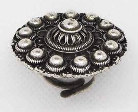ZKR 321 grote Zeeuwse knop ring bloemvorm, een maat, verstelbaar