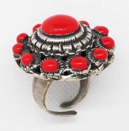 ZKR 314-R Supergrote Zeeuwse knop ring met rode emaille, een maat, verstelbaar
