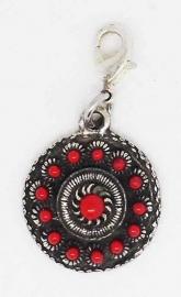 ZKG 418-R zeeuws knopje verzilverd rode emaille, clip