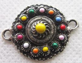 ZB020-MC platte zeeuwse knop 2 cm doorsnede met mooie kleuren emaille