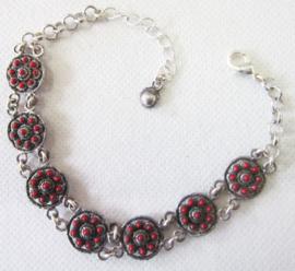 ZKA514-R Zeeuwse knop armband met rode emaille