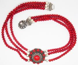 ZKC712 Zeeuwse knop collier met rode emaille en natuurlijk koraal