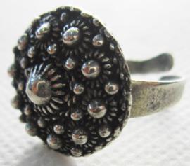 ZKR326 lichtgewicht zeeuwse knopjes ring zwaar verzilverd, een maat, makkelijk verstelbaar