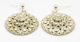 Echt zilveren oorstekers met Zeeuwse knoop hanger groot ongeveer 2 cm