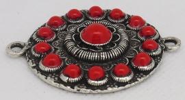 ZB 009-R Grote platte Zeeuwse knop 4 cm doorsnede met rode emaille en twee ogen
