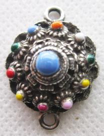 ZB034-MC zeeuwse bolle knop verzilverd met twee hangoogjes en gekleurde emaille