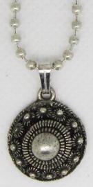 Zeeuwse knop zonder rand hanger met bolletjesketting 40 cm plus verlengkettinkje ZKH614