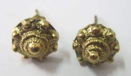 ZKO702-G oorstekers zeeuws knopje klassiek echt verguld, doorsnede 1 cm