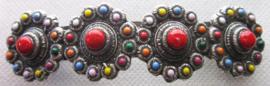 ZKG403-MC Haarspeld zeeuwse knopen met regenboog kleuren emaille 8 cm