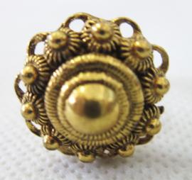 ZKR304-G Zeeuwse knop ring bolletjesrand echt verguld, doorsnede ong. 2 cm, verstelbaar, een maat