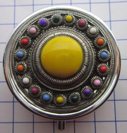 ZKG437-MC3 pillendoosje zeeuwse knop zwaar verzilverd met knalgeel en kleur emaille