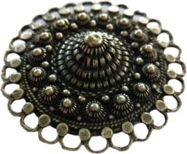 Magneet Zeeuwse knop oogjesrand zwaar verzilverd, designerskwaliteit