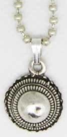 """ZKH617 Zeeuwse knop """"hoed"""" hanger verzilverd aan ketting"""