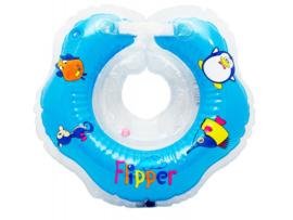 BabyFloat 0+ Zwemband - Zwemring voor om de nek - Babyswimmer - Zwemkraag -Flipper Blauw