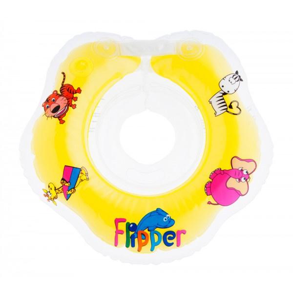 BabyFloat 0+ Zwemband - Zwemring voor om de nek - Babyswimmer - Zwemkraag -Flipper Yellow