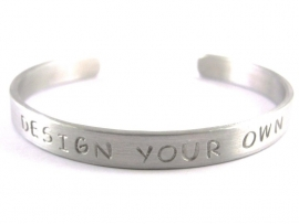 Jouw tekst in een armband - Design Your Own Silver - blanco tekst