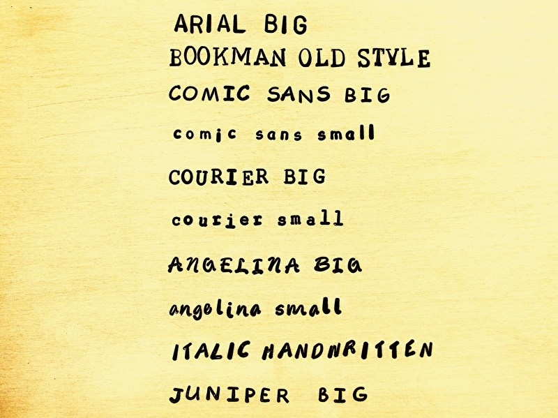 Overzicht slagstempel lettertypes voor de metalen tekst armbanden