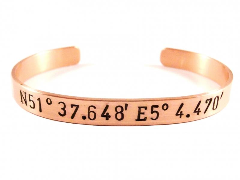 GPS Coordinates Bracelet Rosé Gold - zwarte text