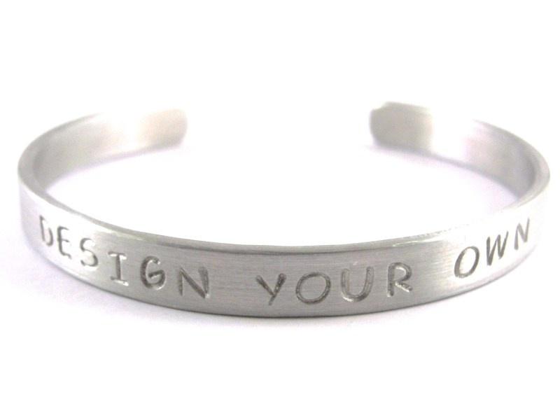 Jouw tekst in een armband - Design Your Own Silver - blanco tekst