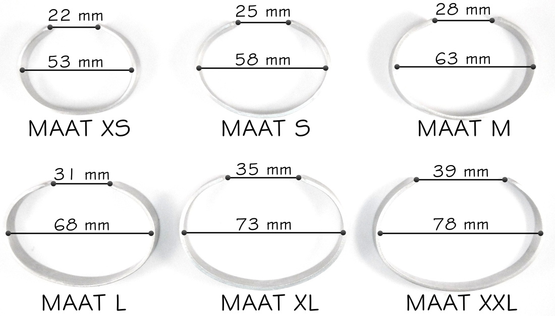Maat ovale modellen tekst armbanden