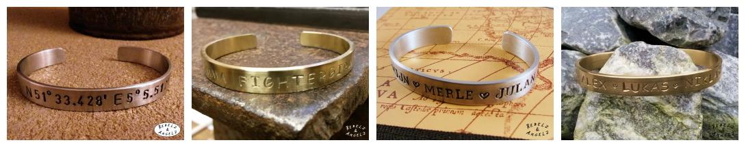 Voorbeelden persoonlijke metalen tekst armband laten maken.