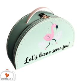 Kinderkoffertje met Rompertje Flamingo
