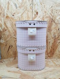 Lief roze met wit geruite cadeaubox 12cm - per stuk
