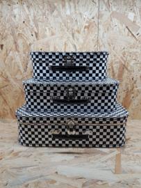 Zwartwit geblokt - koffersetje 25-30-35 cm