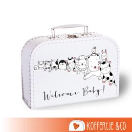 Koffertje zwangerschapsaankondiging diertjes