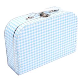 Lichtblauw met witte ruiten koffertje 25cm