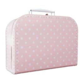 Lief roze koffertje met stippen 25cm