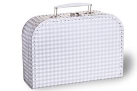 Zilver met witte ruitjes koffertje 25cm